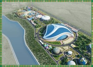 Renderings of the touristic zone in Turkmenbashi
